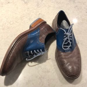 ⭐️Men's Cole Haan Two Tone Oxford Shoes Blue Brown
